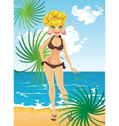 Blonde on beach relaxing vector