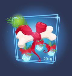 bone with red ribbon bow and christmas balls vector image