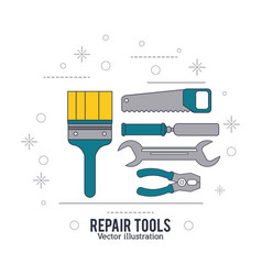 brush spatula wrench pliers saw tool icon repair vector image