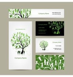 Business cards design family tree vector