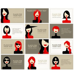 Business cards with woman faces for your design vector image