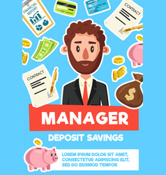 Businessman manager profession poster vector
