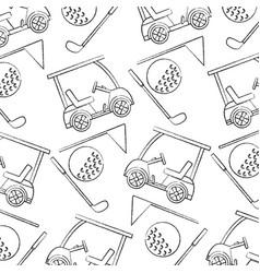 Cart ball flag golf pattern image vector