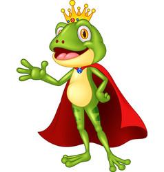 Cartoon adorable king frog waving hand vector