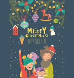 cartoon happy family celebrate christmas hello vector image