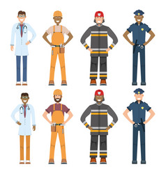 character doctor policeman worker firefighter vector image