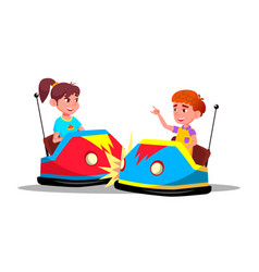Characters children driving bumper car vector