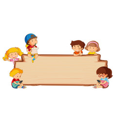 Children on empty wooden board vector