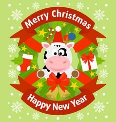 Christmas and new year background card with cow vector