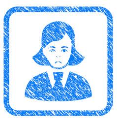 Clerk lady framed stamp vector