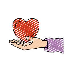 Color crayon silhouette hand palm giving a heart vector