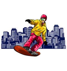 colored silhouette snowboarder design art vector image