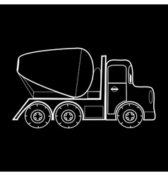 Concrete mixer vehicle construction roads vector