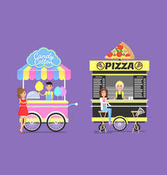 Cotton candy and tasty pizza from street carts set vector
