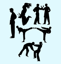 couple exercising karate silhouette 05 vector image