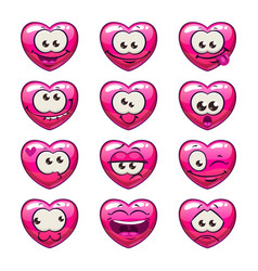 Cute cartoon pink heart emoji set vector