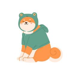 Cute kawaii dog shiba inu breed wearing canine vector