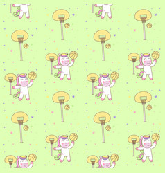 cute pegasus playing basketball seamless pattern vector image