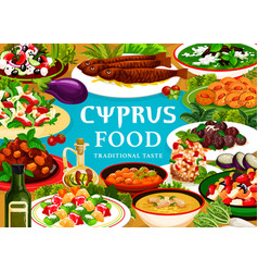 cyprus food meals cyprian cuisine poster vector image