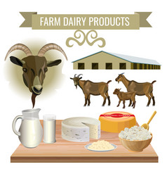 Dairy products from goat vector