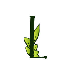 Doodling eco alphabet letter ltype with leaves vector