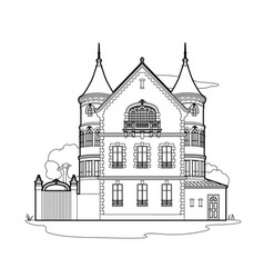 Drawing mansion vector