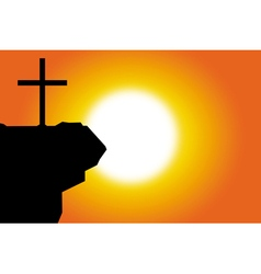 Easter silhouette of jesus cross background vector