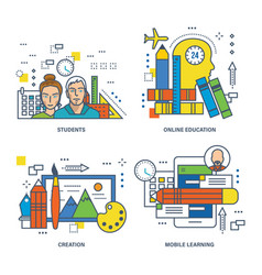 education creativity students mobile learning vector image