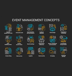 event management planning chalk concept icons vector image