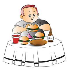 fat boy eating burger vector image