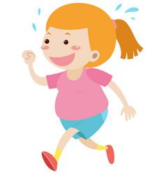 fat girl running alone vector image