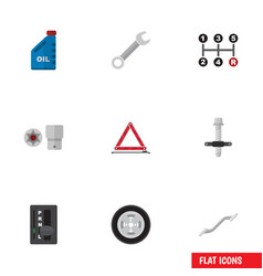 Flat icon service set of spanner petrol vector