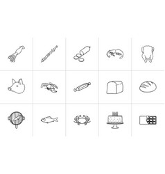 food hand drawn sketch icon set vector image