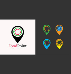 Food logo restaurant icon with point concept vector