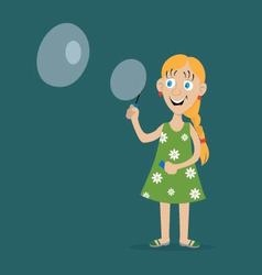 girl blow bubbles vector image