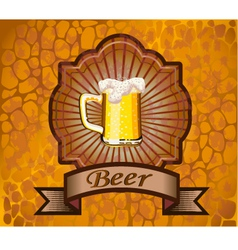 Glass of beer with foam and fish vector