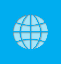 globe paper cut out icon vector image