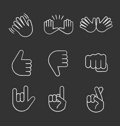 hand gesture emojis chalk icons set vector image