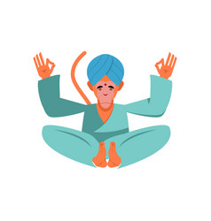 Hanuman sacred monkey in india animal yoga lotus vector