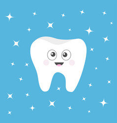 healthy tooth icon with smiling face and big eyes vector image