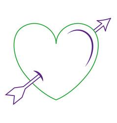 heart love with arrow card vector image