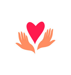 help social charity logo hand care template vector image