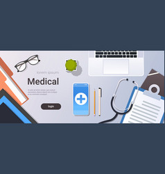 Hospital worker table online mobile app top angle vector