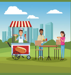 hot dog cart in park vector image