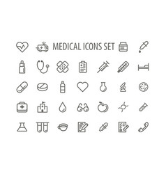Icons sign and symbols medicine and health vector