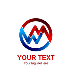 Initial letter mw or wm logo template colored red vector