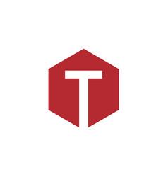 initial t hexagon logo vector image