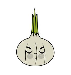 Kawaii cute angry onion vegetable vector