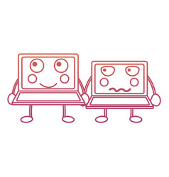 Laptops kawaii icon image vector