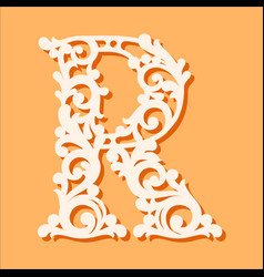 Laser cut template initial monogram letters vector